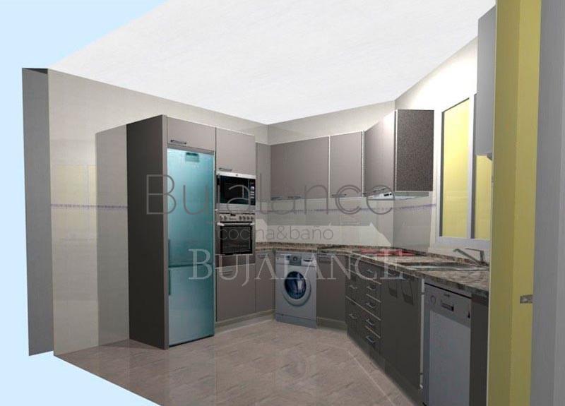 Cocina angular con granito en color pardo y puertas en color vison