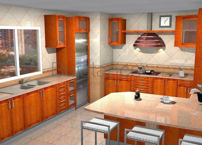 Cocina con encimera de compact en color crema y puertas de madera en color cerezo