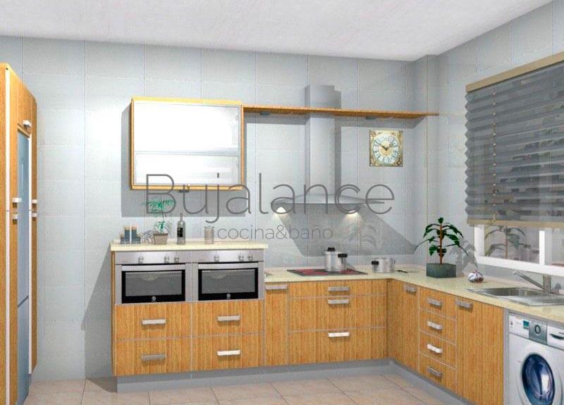 Cocina con encimera de granito color crema y puertas en madera de colro roble
