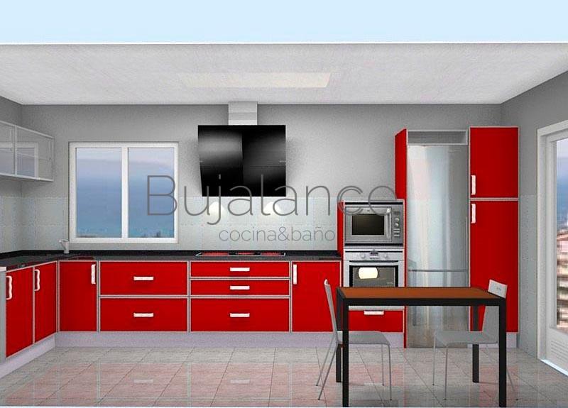Cocina con encimera de granito de importación en color negro y puertas en color rojo