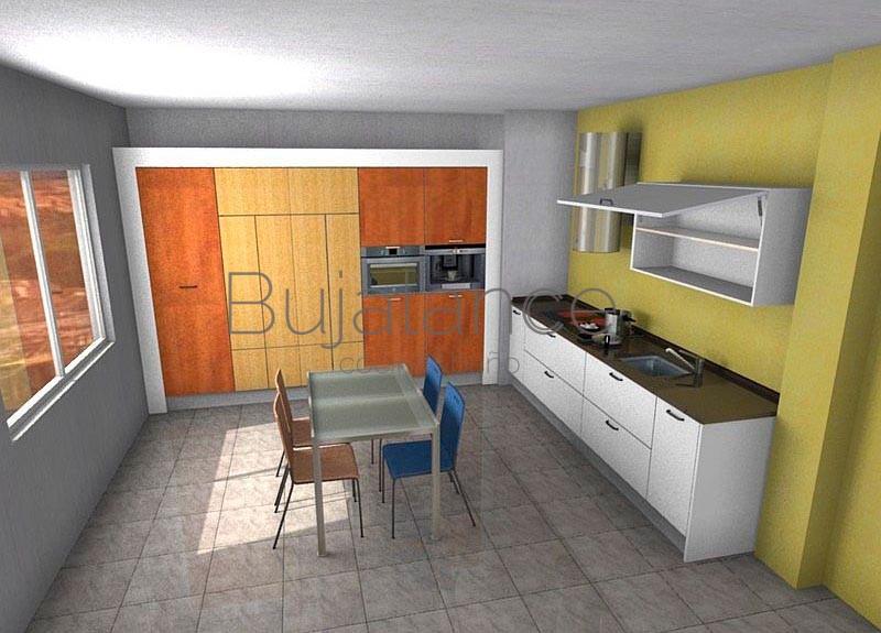 Cocina con encimera de silestone en color café y puertas en blanco
