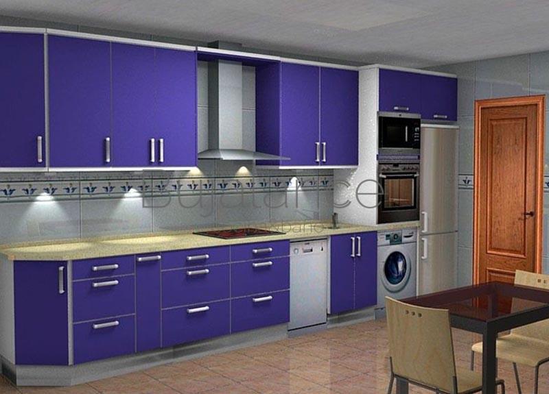 Cocina con granito en crema y puertas en azul
