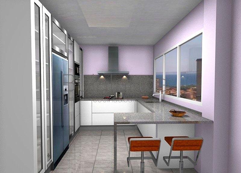 Cocina con granito gris y puertas en blanco