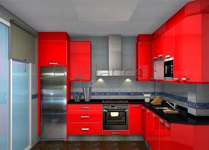 Cocina con granito negro y puertas en rojo